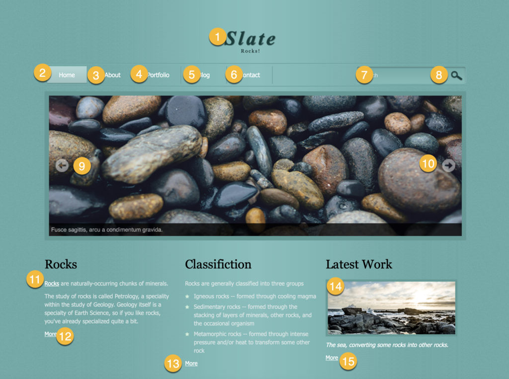 Screenshot of the Rocks website, with each of the focusable elements numbered in the order we expect to be able to move through them on the keyboard. Note that not all text is focusable, and some focusable elements are not text, so focus order is not exactly the same as reading order.