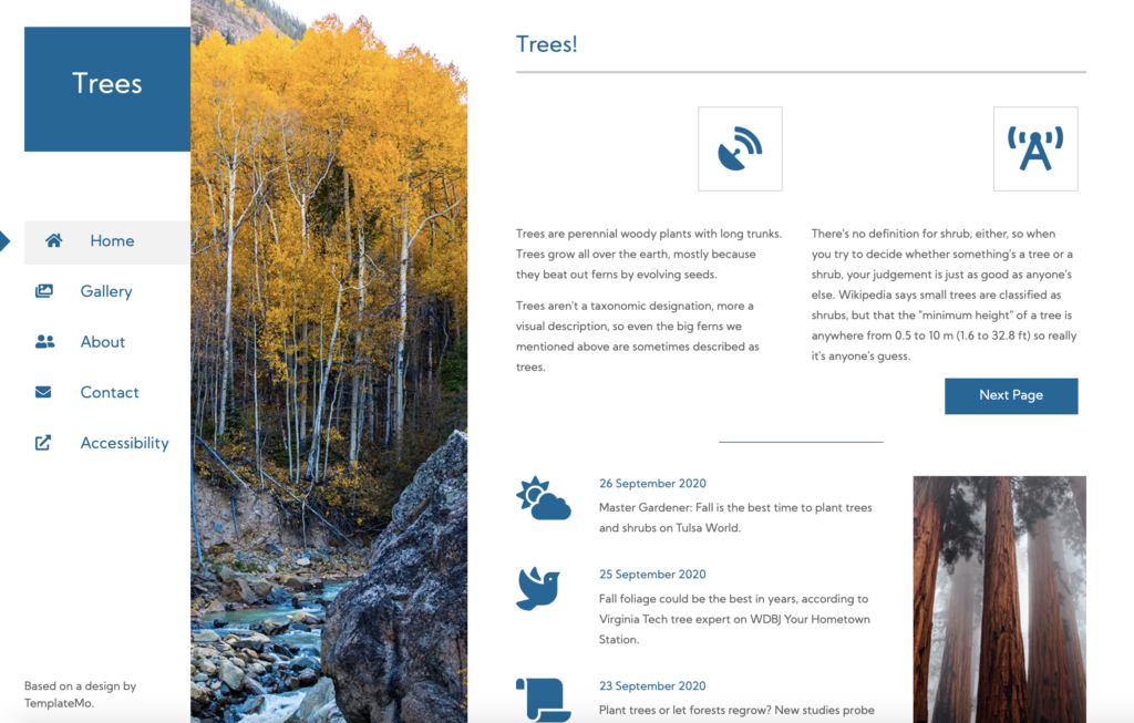 A screenshot of the Trees website. The page title and menu are in the leftmost column. The next column is a photograph, which separates the menu from the content. The content starts at the top of the page and flows down the remaining column of the page, both in short left-right bursts and an overall top-bottom direction.
