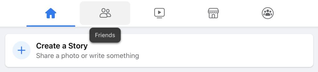 A screenshot of the tabset at the top center of Facebook's new desktop design as described above.