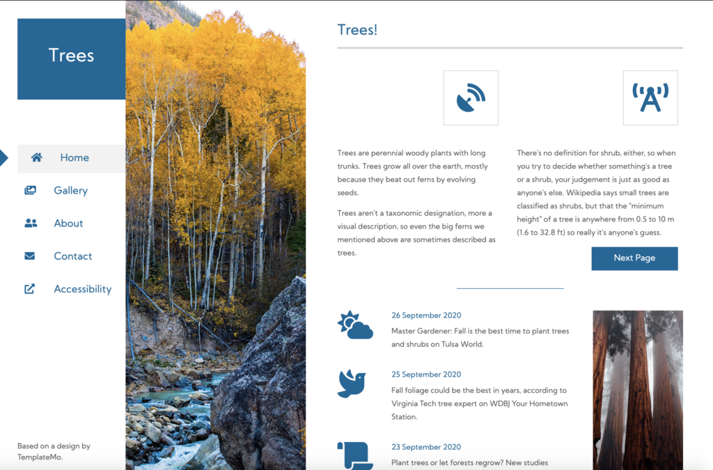Screenshot of the Trees homepage with a photo of some trees separating the global navigation from the page content.