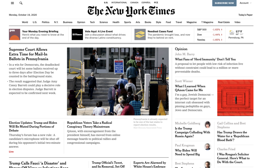 Screenshot of the homepage of the new york times 19 october 2020, showing that the clickable headlines are set in bold and there's no underlining present on the page.